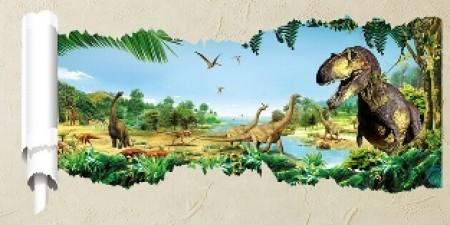 Samolepky s dinosaury s 3D efektem